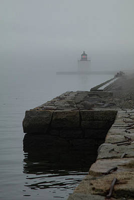 Photograph - Lonely Salem Lighthouse In Fog by Jeff Folger
