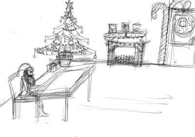 Matthew Joseph Williams Drawing - Lonely Santa by Artists With Autism Inc
