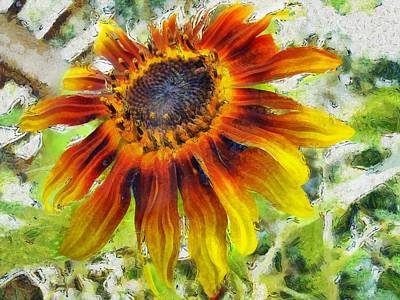 Painting - Lonely Sunflower by Maciek Froncisz