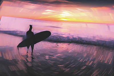Digital Art - Lonely Surfer by Ericamaxine Price