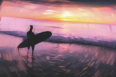Digital Art - Lonely Surfer by Ericamaxine Price