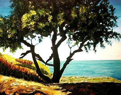 Painting - Lonely Tree By The Beach by Ray Khalife