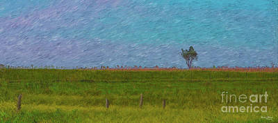 Mixed Media - Lonely Tree Pano Painterly by Jennifer White