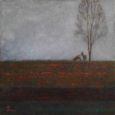 Painting - Lonely Tree With Two Roes by Attila Meszlenyi