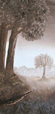 Burnt Umber Painting - Lonely Trees by Kimby Faires