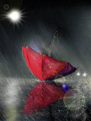 Digital Art - Lonely Umbrella by Darren Cannell