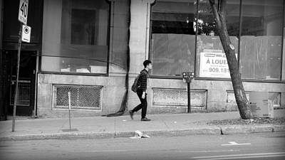 Montreal Streets Photograph - Lonely Urban Walk by Valentino Visentini