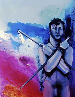 Art Print featuring the painting Lonely Warrior  by Rene Capone