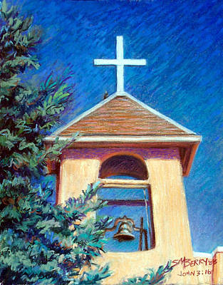 Pastel - Lonesome Dove At Taos Mission by Suzanne Berry