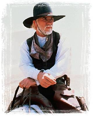 Kevin Costner Painting - Lonesome Dove Captain Call On Horse by Peter Nowell