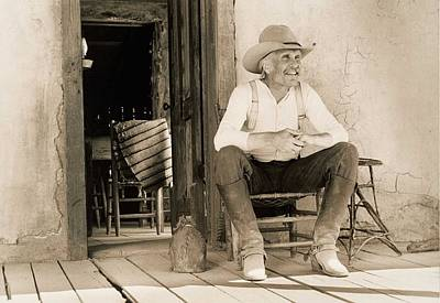 Old Western Photograph - Lonesome Dove Gus On Porch Signed Print by Peter Nowell