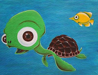 Lonesome Painting - Lonesome Fish And Friendly Turtle by Landon Clary