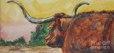 Painting - Lonesome Longhorn by Ron Stephens