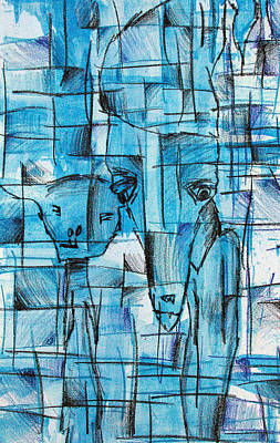 Cubism Drawing - Lonesome Rabbits by Jera Sky