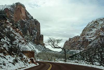 Art Print featuring the photograph Lonesome Snowy Winter In Zion by Gaelyn Olmsted
