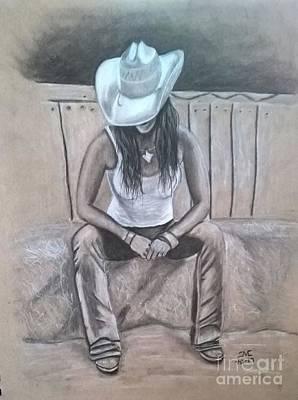 Denim Drawing - Lone Star Lady by Josetta Castner
