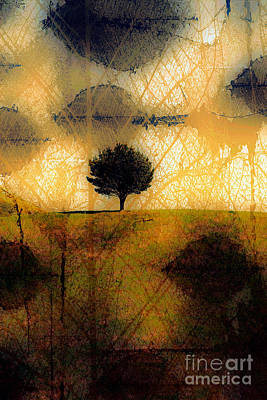 Photograph - Lone Tree On A Hill Abstract In Autumn by Linda Matlow