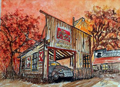 Painting - Long Ago Auto Repair Shop by Connie Valasco