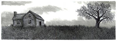 Old Barn Pen And Ink Drawing - Long Ago by Jonathan Baldock