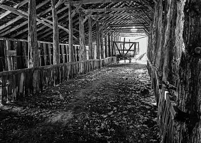 Photograph - Long Barn Interior by Steven Clark