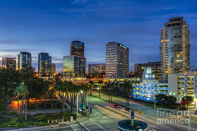 Photograph - Long Beach Night Lit Skyline by David Zanzinger