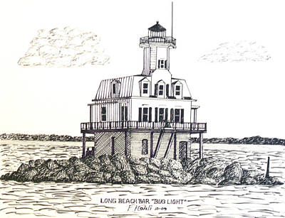 Long Island Drawing - Long Beach Bar Bug Light by Frederic Kohli