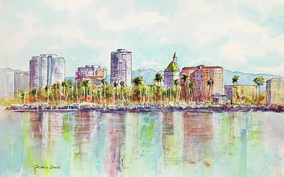 Painting - Long Beach Coastline Reflections by Debbie Lewis