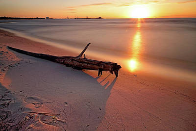 Photograph - Long Beach Driftwood - Mississippi - Sunrise by Jason Politte
