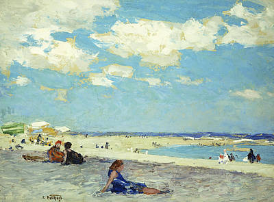 People On Beach Wall Art - Painting - Long Beach by Edward Henry Potthast