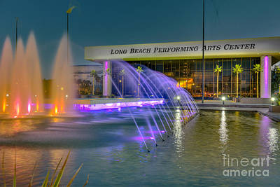 Photograph - Long Beach Performing Arts Center Fountain by David Zanzinger