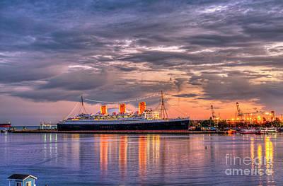 Photograph - Long Beach, Queen Mary Sunset Lighted by David Zanzinger