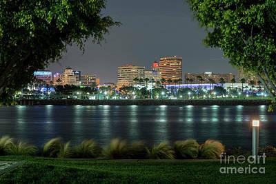 Photograph - Long Beach Skyline Lit At Night by David Zanzinger