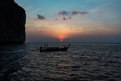 Photograph - Long Boat In Maya Bay Sunset by Scott Cunningham
