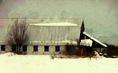 Barns In Snow Photograph - Long Cold Winter - Winter Barn by Janine Riley