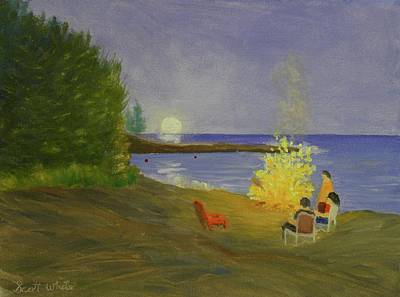 Painting - Long Cove Bonfire by Scott W White