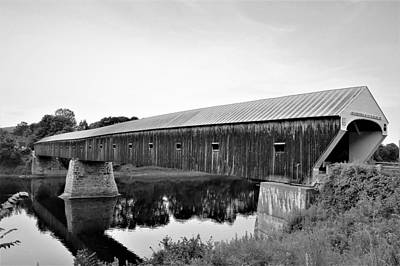 Photograph - Long Covered Bridge Bw by Charles HALL