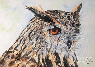 Feathers Painting - Long Eared Owl by Lisa Straker