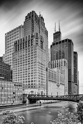 Long Exposure Image Of Chicago River Civic Opera House And Top Of The Willis Tower - Illinois Art Print by Silvio Ligutti
