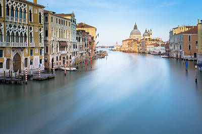 Long Exposure Of Grand Canal In Venice Italy Art Print by Nattee Chalermtiragool