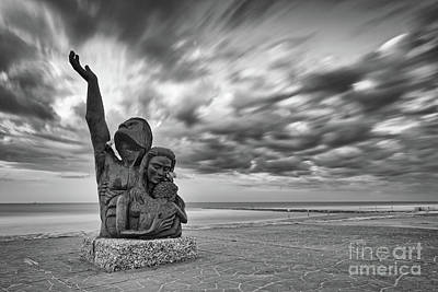 Photograph - Long Exposure Of The 1900 Hurricane Storm Memorial At The Galveston Seawall - Texas Gulf Coast by Silvio Ligutti
