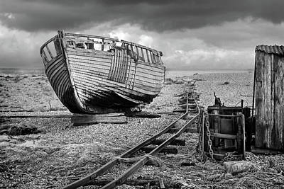 Photograph - Long Forgotten - Rusty Winch And Old Fishing Boat In Black And White by Gill Billington