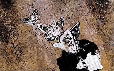 Long Gone Whisper II - Street Art Graffiti Painting, Girl With Butterflies Original
