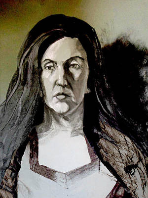Mixed Media - Portrait Of A Beauty With Long Dark Hair In Novelty Neckline by Greta Corens