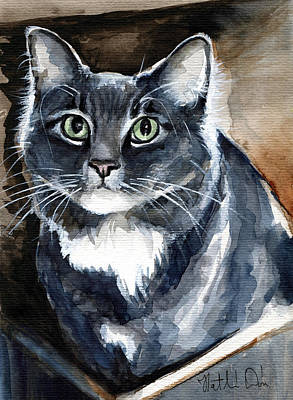 Painting - Long Haired Blue Cat Portrait by Dora Hathazi Mendes