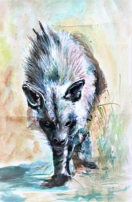 Painting - Long Haired Brown Hyena by Khalid Saeed
