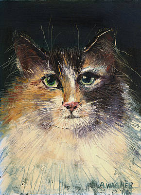Domesticated Animal Painting - Long Haired Cat by Arline Wagner