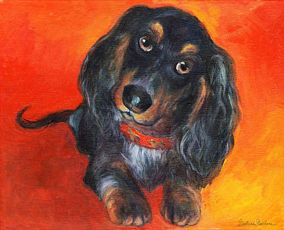Cute Puppy Painting - Long Haired Dachshund Dog Puppy Portrait Painting by Svetlana Novikova
