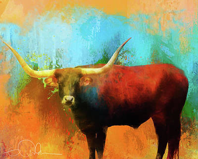 Digital Art - Long Horn Bull by Gloria Anderson