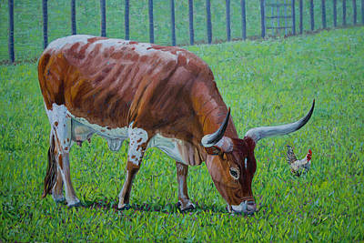 Painting - Long Horn Calf by Manuel Lopez
