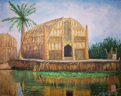 Painting - Long Hut Of The Marsh Arabs by Ron Bowles